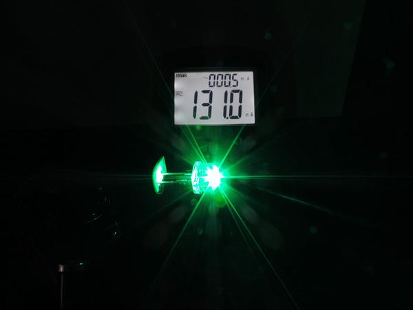 Dioda led 8mm straw hat 0.5W 35lm zielona 4.3V 145st - pomiar