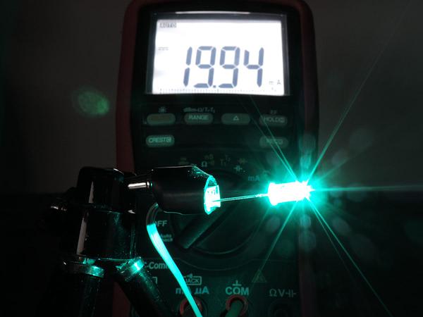 Dioda led 5mm cyan przeźroczysta mocna - pomiary