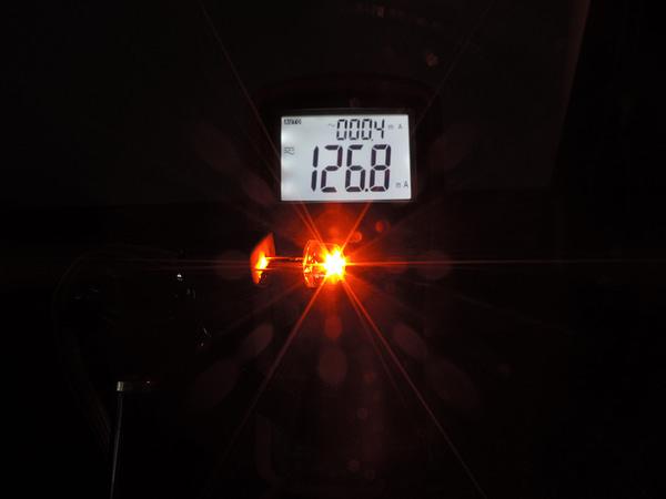 Dioda led 8mm straw hat 0.5W 18lm pomarańczowa 3.2V 145st - pomiar