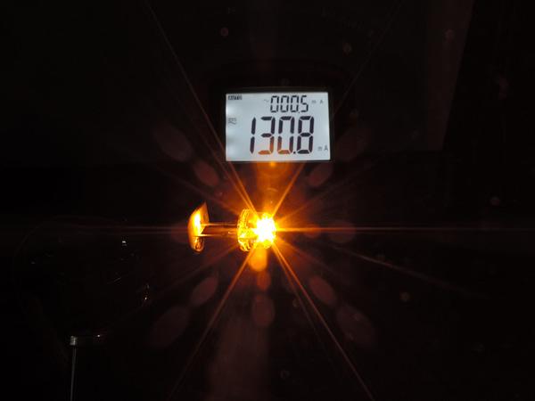 Dioda led 8mm straw hat 0.5W 18lm żółta 2.6V 155st - pomiar