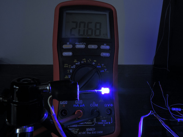 Dioda led płaska 3mm niebieska - pomiary