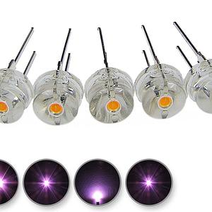 Dioda led 8mm straw hat 0.5W 22lm różowa 4.4V 140st - wygląd
