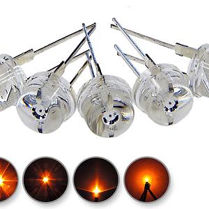 Dioda led 8mm straw hat 0.5W 18lm pomarańczowa 3.2V 145st - wyglad