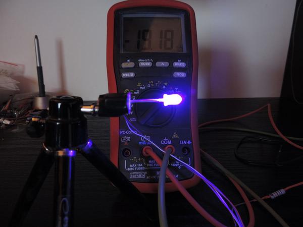 Dioda led 5mm fioletowa przeźroczysta - pomiar