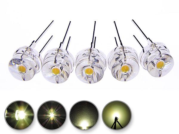 Dioda led 8mm straw hat 0.5W 28lm biała ciepła 3500K 4.4V 150st