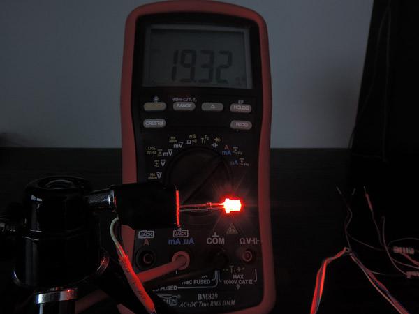 Dioda led płaska 3mm czerwona - pomiary