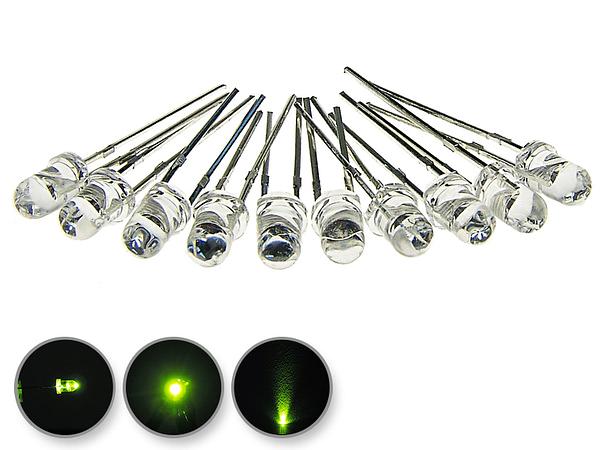 Dioda led 3mm zielona przeźroczysta - wygląd