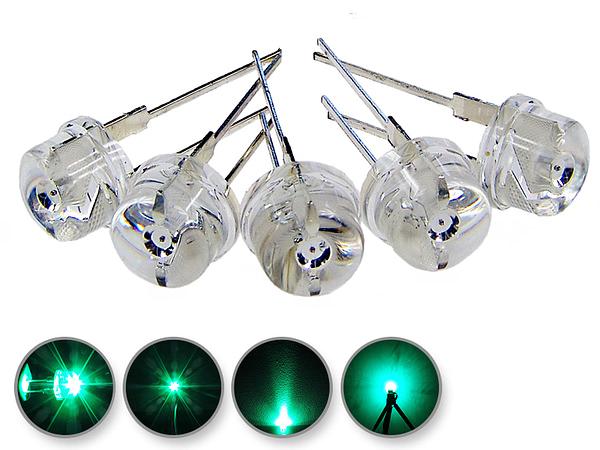 Dioda led 8mm straw hat 0.5W 35lm zielona 4.3V 145st - wygląd