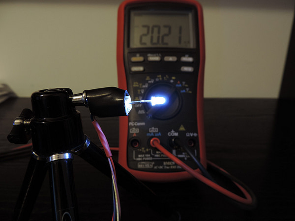 Dioda led 3mm biała zimna przeźroczysta - pomiary