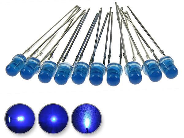 Dioda led 3mm niebieska dyfuzyjna - wygląd