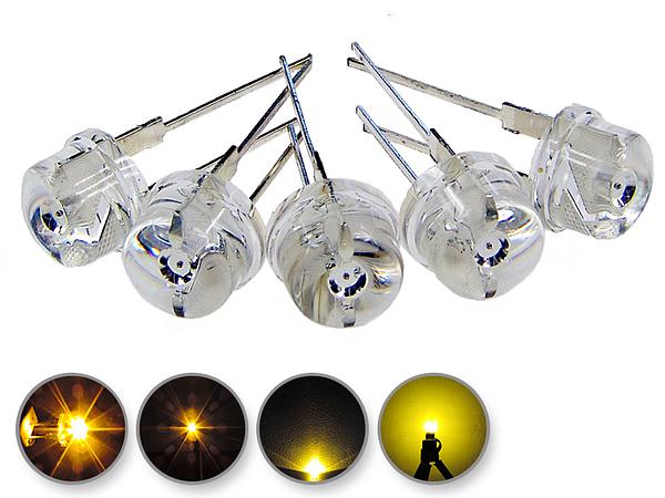 Dioda led 8mm straw hat 0.5W 18lm żółta 2.6V 155st - wygląd