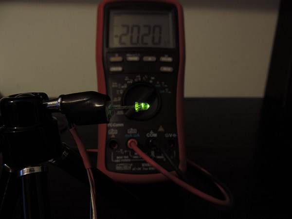 Dioda led 3mm zielona przeźroczysta - pomiary