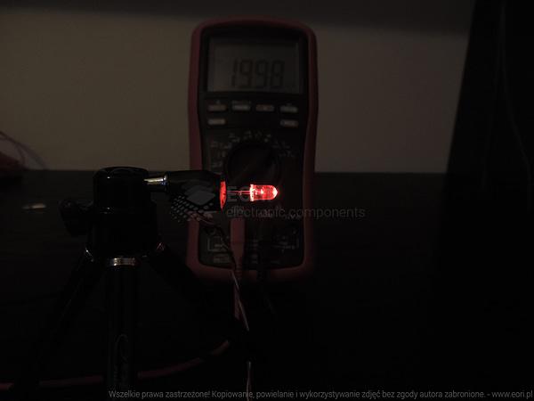 Dioda led 5mm czerwona przeźroczysta - pomiary