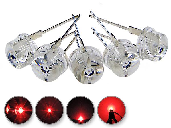 Dioda led 8mm straw hat 0.5W 20lm czerwona 2.7V 160st - wygląd