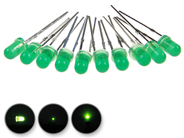 Dioda led 3mm zielona dyfuzyjna - wygląd